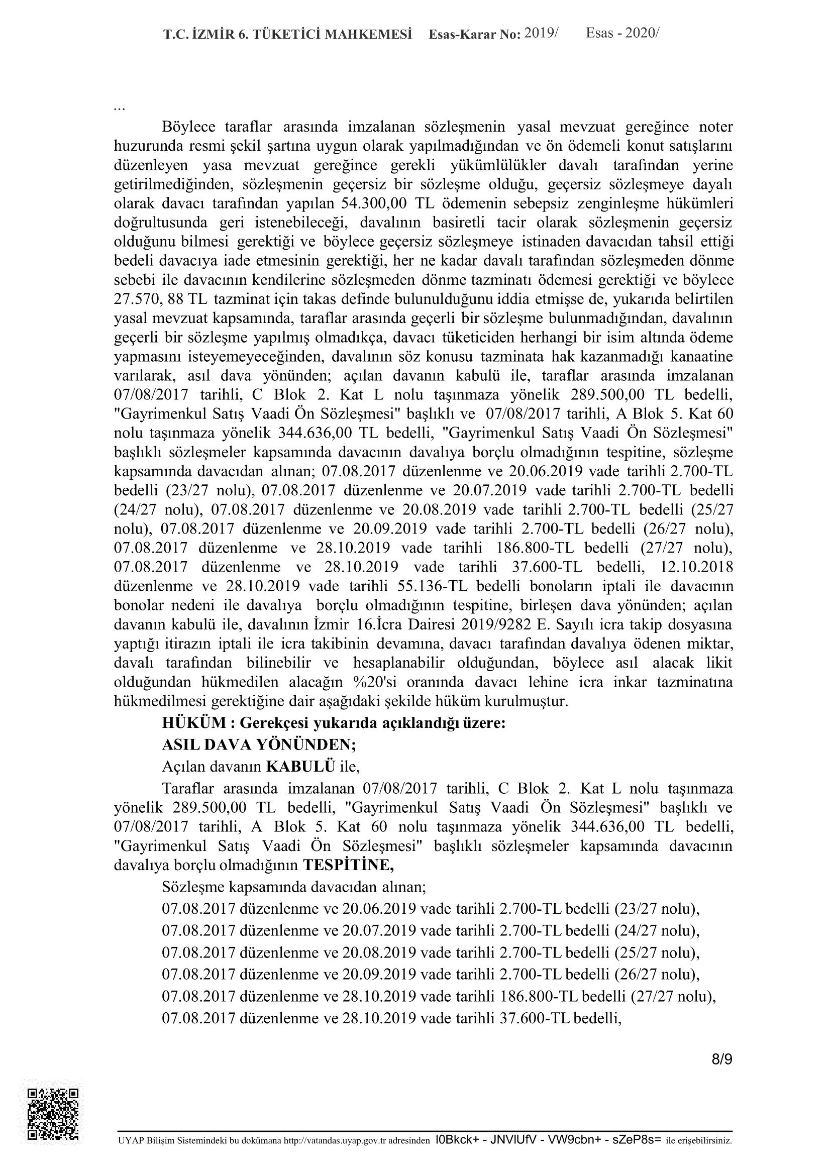 konut satış sözleşmesi